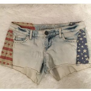 Girls Vanilla Star White Denim Shorts star Sz 3
